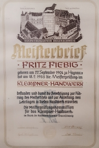 Meisterbriefe Fritz Fiebig
