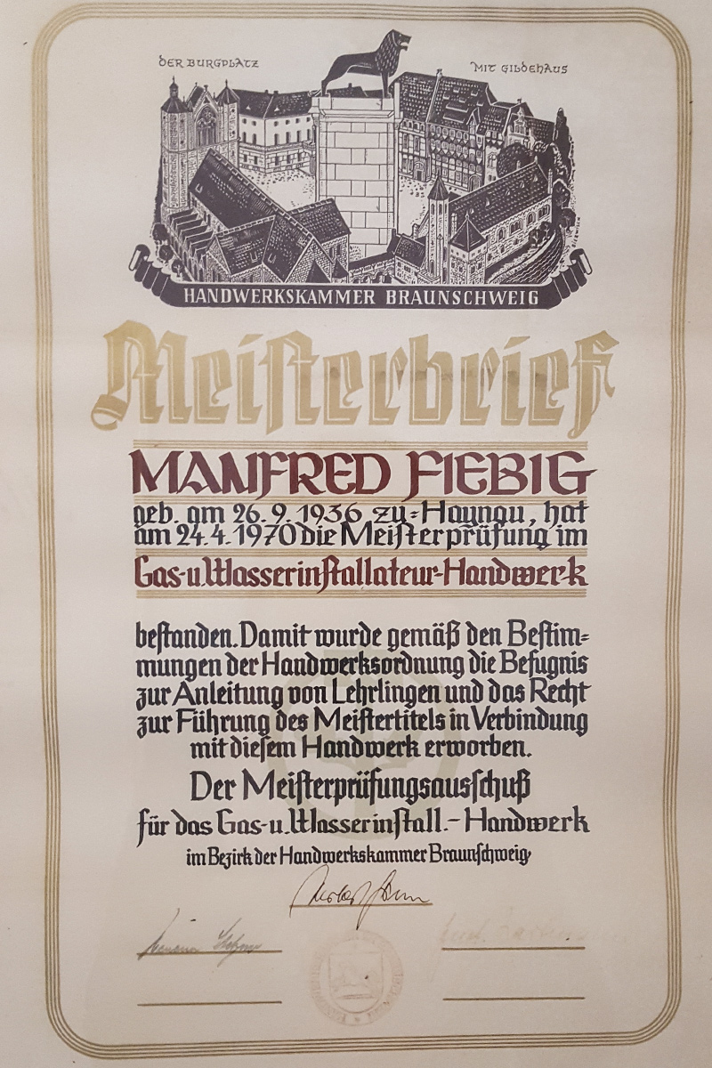 Meisterbriefe Manfred Fiebig